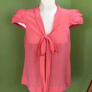 Odille Anthropologie 100% silk peach blouse